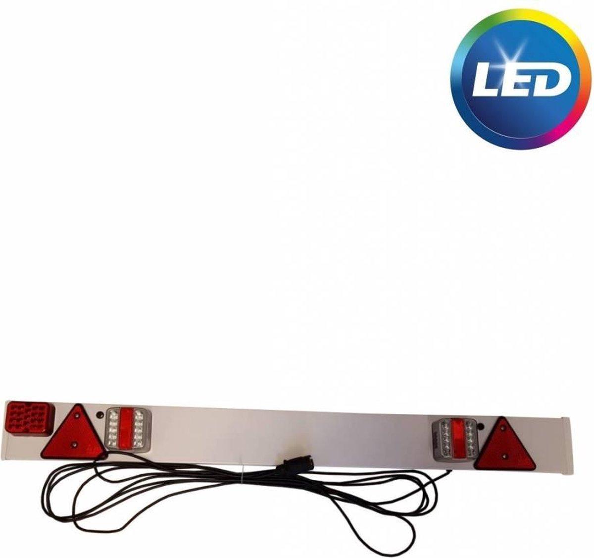 Complete kunststof lichtbalk voor aanhangers en trailers - 137 cm breed- 7 polig - 9 meter kabel Image